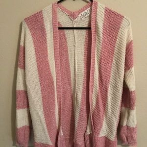 Girls pink and white cardigan